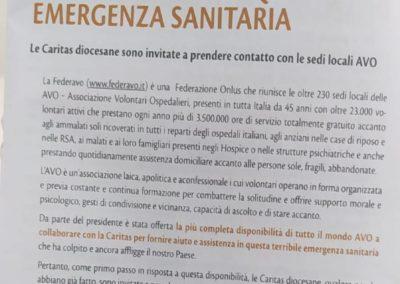 Comunicazione del Presidente Silumbra alle AVO: Rapporto di collaborazione tra Federavo e Caritas Nazionale