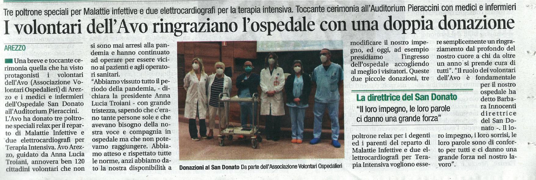 AVO Arezzo: donazione all'Ospedale San Donato